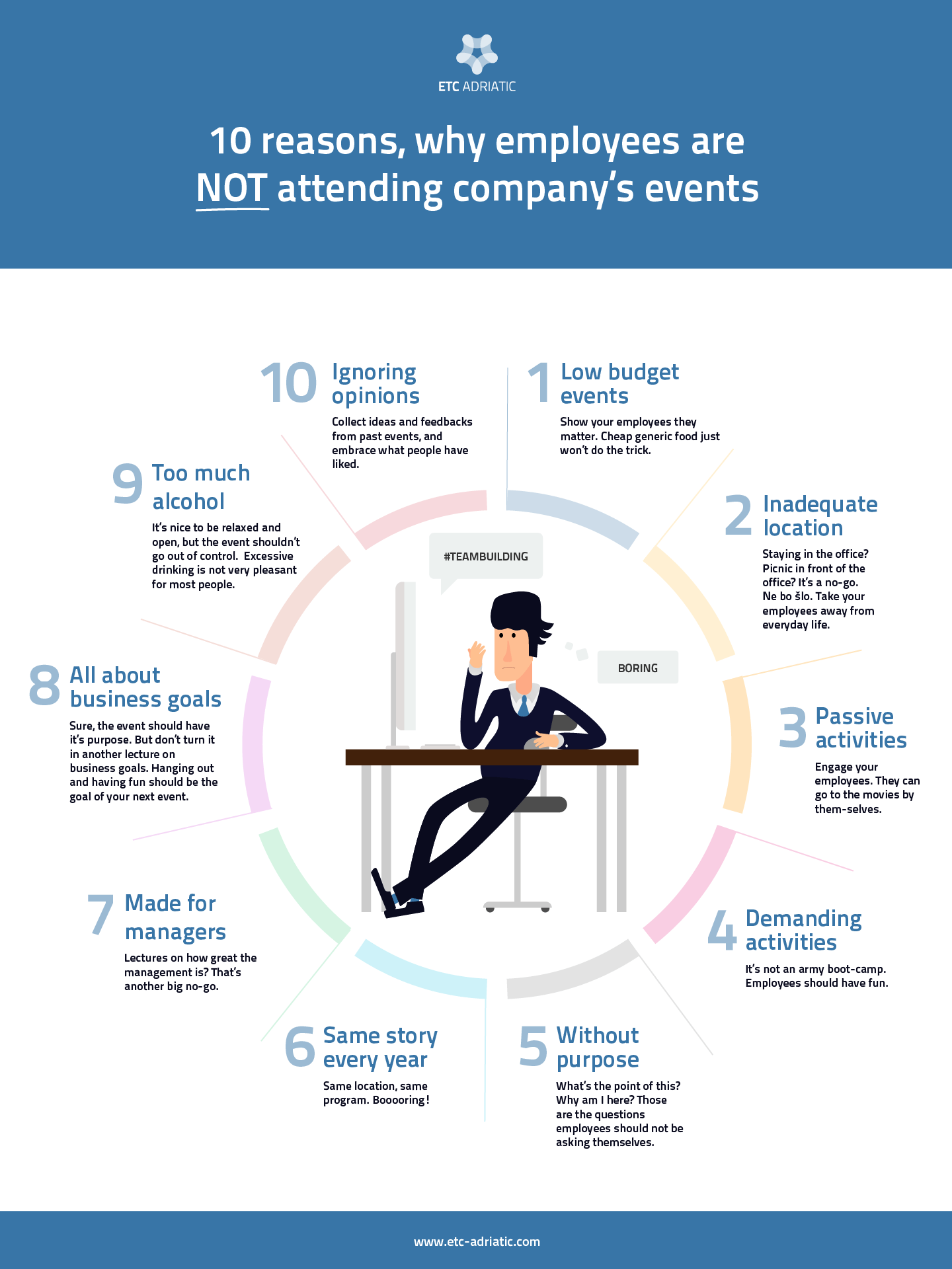 10 reasons, why employees are NOT attending company's events